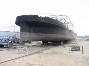 Pieskovanie lode pri prestavbe